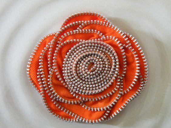 Orange Recycled Vintage Zipper Flower Brooch or by benjamin2008, $18.00