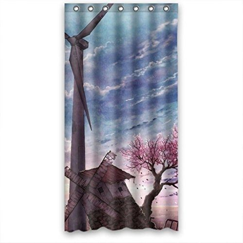 Attractive Windmill And Pink Peach Tree Clouds Sky Shower Curtain