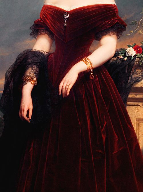 INCREDIBLE DRESSES IN ART (54/∞)Isabelle Antoinette, Baroness Sloet van Toutenburg by Nicaise de Keyser, 1852: