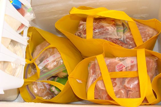 If you have a chest freezer, organize items in reusable fabric shopping bags so you can pull things out easily.  -  13 Life Changing Fridge and Freezer Hacks