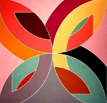 frank Stella's later works have. Such bold colors and hard-edged compositions that have been so finely worked out.