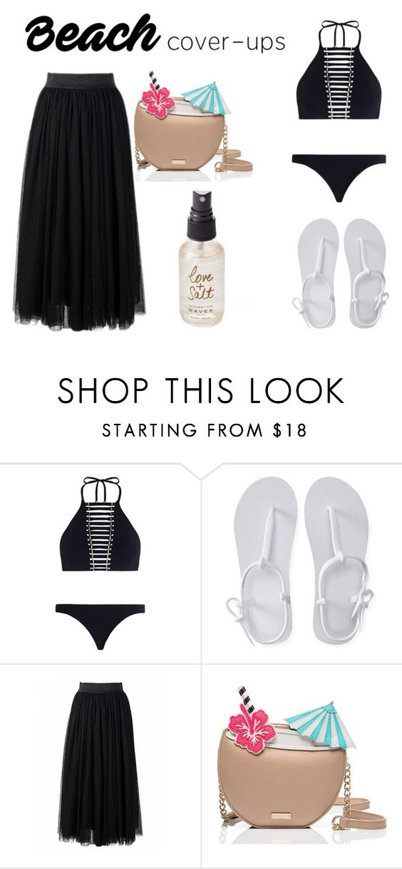 """""""Cover Ups"""" by amyaharris06 ❤ liked on Polyvore featuring Zimmermann, Aéropostale, Kate Spade, Olivine and coverups"""