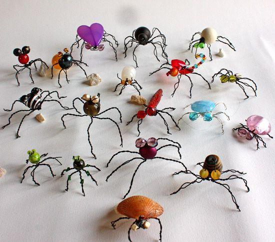 Plein d'idées d'insectes avec fil de fer et boutons: