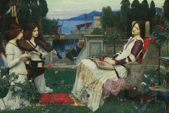 John William Waterhouse (English Pre-Raphaelite painter) 1849-1917 Saint Cecilia, 1895 oil on canvas The Montreal Museum of Fine Arts  Saint Cecilia was the first martyr whose body remains incorruptible. She has been regarded as patroness of church music. It is believed that she died in the year 177 A.D.