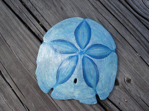 SEASIDE SAND DOLLAR Hand Painted Blue Star Sandollar by artbyjulia
