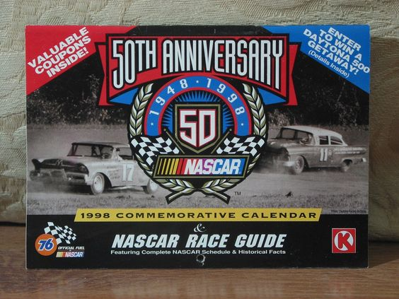 NACAR 50th Anniversary Mini Calendar And 1998 Schedule Race Guide With Coupons  1.8P722B48717JUNK0211,12   http://ajunkeeshoppe.blogspot.com/