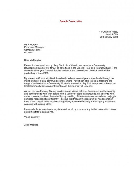 Good Example Of A Resume Cover Letter | Letter Samples | Pinterest