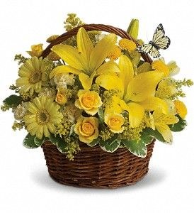 "This ""Basket Full of Wishes"" brings wishes for good health and a better tomorrow. Shop online at http://www.sansonefloral.com/st-joseph-flowers/Basket-Full-of-Wishes-372699p.asp?rcid=85&point=1 .:"
