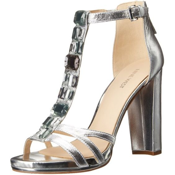 Nine West Women's Wiglie Metallic Heeled Sandal ($66) ❤ liked on Polyvore featuring shoes, sandals, platform heel sandals, metallic dress sandals, elastic sandals, nine west sandals and wide heel sandals