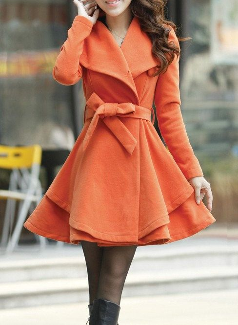 Khaki / Orange /Green/ Pink wool women coat women dress coat Apring Autumn Winter --CO062 i love this: