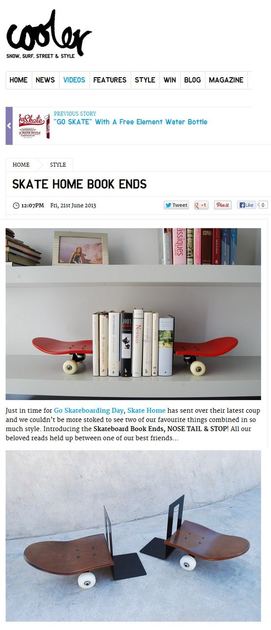 Book Ends by Skate-Home. Just in time for Go Skateboarding Day, Skate Home has sent over their latest coup and we couldn't be more stoked to see two of our favourite things combined in so much style. Introducing the Skateboard Book Ends, NOSE TAIL & STOP! All our beloved reads held up between one of our best friends… accessories, design, skate home, skateboards: