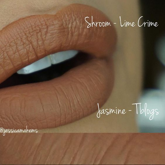 Comparação do batom Shroom da #LimeCrime com o Jasmine do #Pausaparafeminices. Para mais dupes visite o blog!