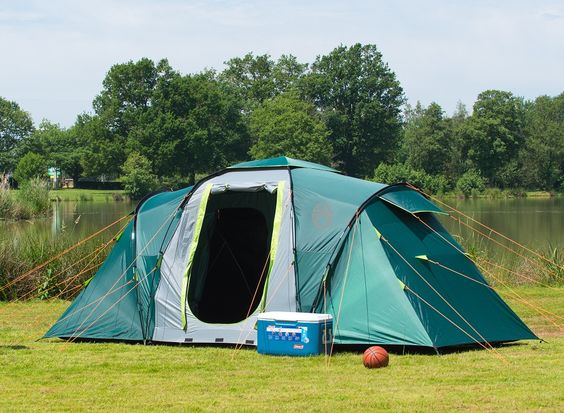 Pre-pitched 4 person tunnel tent with; u0026bull; 2 double blackout bedrooms u0026bull & Pre-pitched 4 person tunnel tent with; u0026bull; 2 double blackout ...