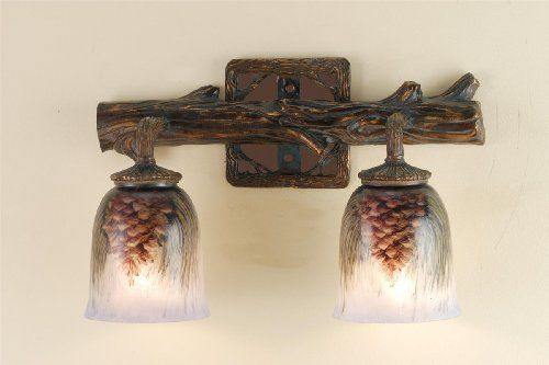 "Meyda Tiffany 49521 Tiffany Glass Pinecones Transitional 2 Light 16"" Wide Bathroom Fixture from the Pinecones Collection 49521 by Meyda Tiffany. $169.20. Meyda Comfort LightingHand painted Pinecone Two Light Wall Sconce2 Medium base bulbs, 60w (max)"