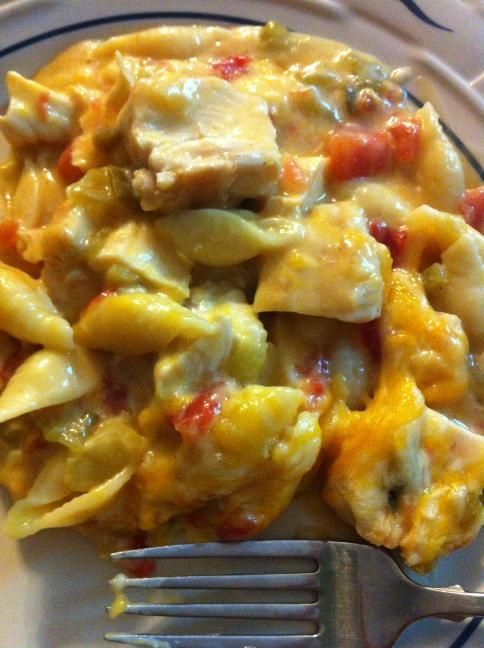 Fiesta Chicken Casserole:  2 cups grilled chicken breast grilled.  2 cups medium shell pasta cooked   2 cups cheddar/jack cheese blend. 1 can of cream of chicken soup. 1 can Rotel. 1 can green chilies. 1/2 cup of milk  Cover with cheese   salt and pepper to taste!  Bake at 350 for 20 minutes