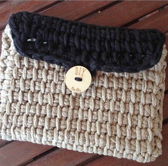 Lady crochet neceser de trapillo tejido a punto tunecino - Puntos crochet trapillo ...
