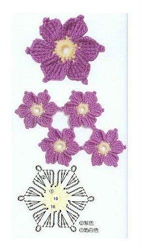 Graficos de flores de crochê
