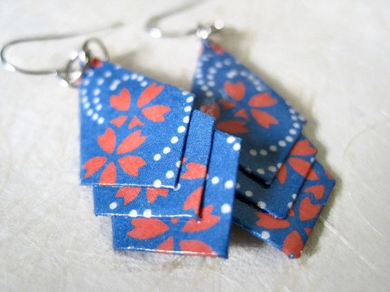 Origami Jewelry Geometric Paper Earrings by VonnesHandmadez