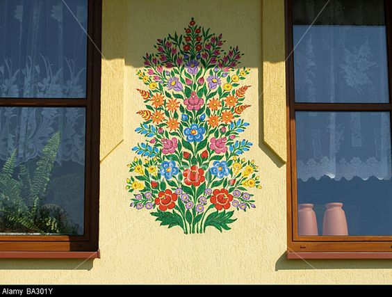 poland-zalipie-house-facade-paints-detail-flower-motive-series-painted-BA301Y.jpg (640×485)