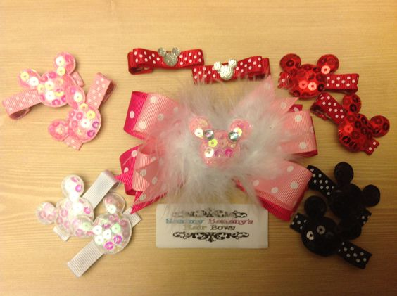 Any choice bows from $3 and up.  Www.facebook.com/sammybananyshairbows  Minnie, Minnie Mouse, Mickey Mouse, big bows, Disney world, hair bows, medium bows, feathers, how to make, lilac, purple black, sequins, tinkerbell, Cinderella, princess, bottle caps, resins, bows, black, pink, red, white hot pink, marabou