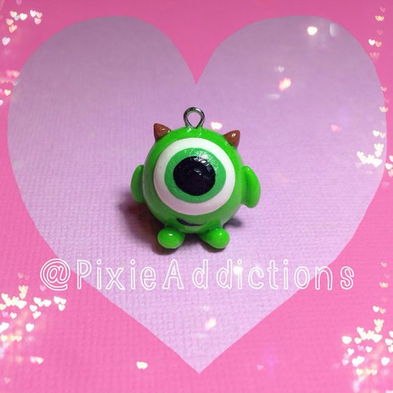 Monsters Inc. Mike Wazowski Polymer Clay Charm by PixieAddictions, $5.00