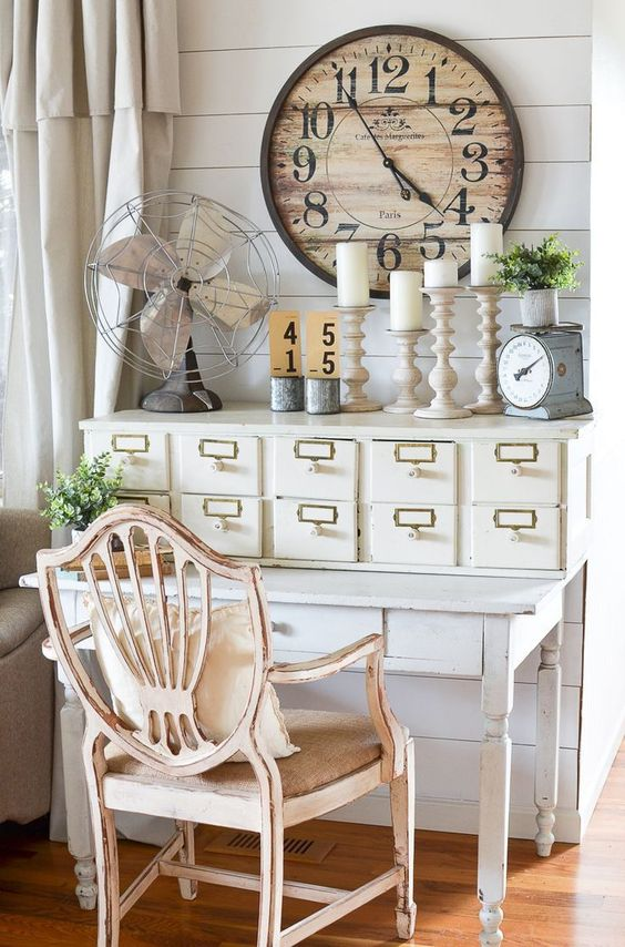 Farmhouse style decor. Vintage card catalog turned into small work space