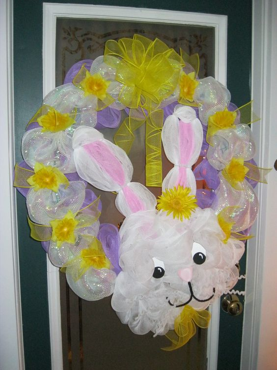Easter Bunny Mesh Ribbon Wreath