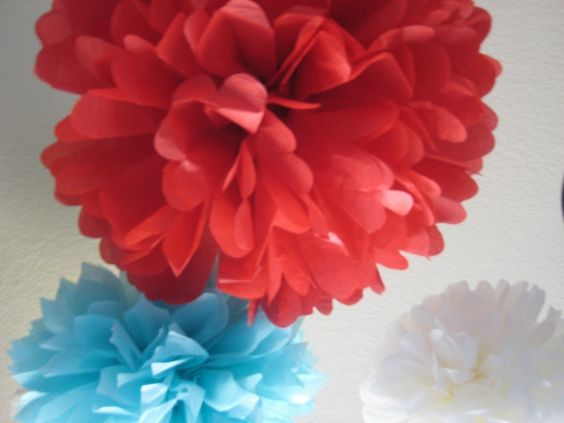 Circus Fever - 10 Tissue Paper Pom Poms Decoration Holiday Party NYE DIY Kit - Red Aqua Blue and White. $35.00, via Etsy.