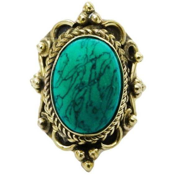 Gold Tone Ethnic Turquoise Stone Metal Size Ring Fashion Ind... - Polyvore
