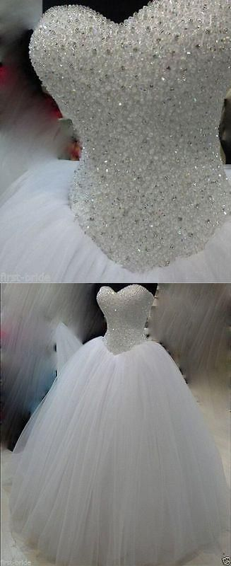 Wedding Dresses: New White/Ivory Beadding Wedding Dress Bridal Gown Custom Size 6-8-10-12-14-16 BUY IT NOW ONLY: $94.05 #priceabateWeddingDresses OR #priceabate