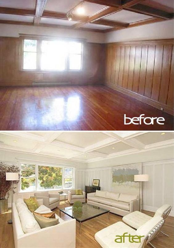 Painted wood panelling ought knot pinterest wood Painting paneling in basement