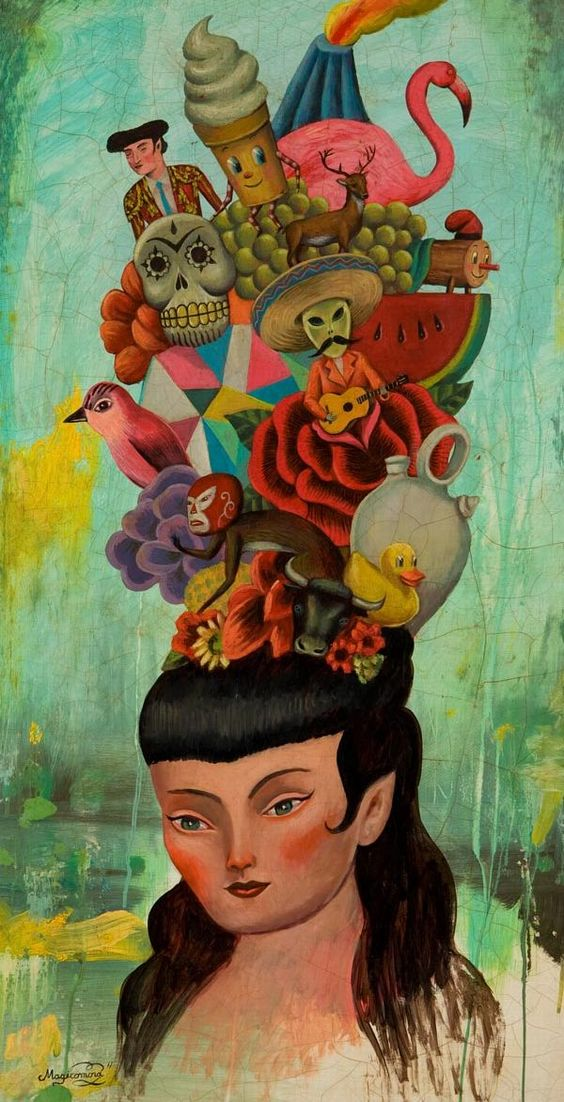 I've got a lot on my mind...  (Love this work by Sergio Mora, 2010.)  ~~  Houston Foodlovers Book Club