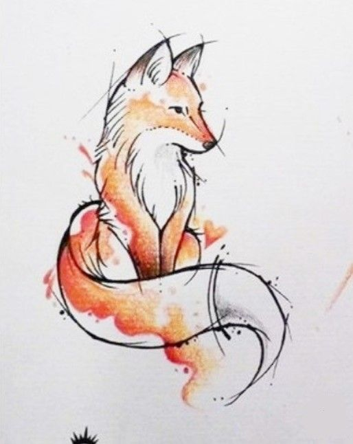 Dessin Renard Fox Roux Animal Bete Aquarelle Art Aquarelle