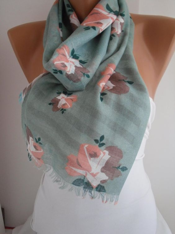 Floral Shawl/Scarf by DIDUCI on Etsy, $15.90