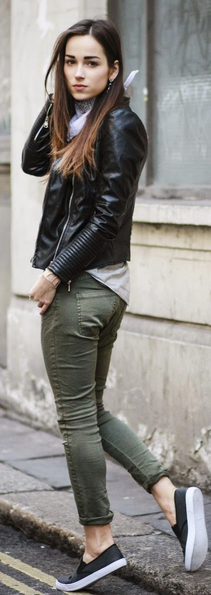 Army green skinnies, black leather jacket, grey tee, sneakers.: