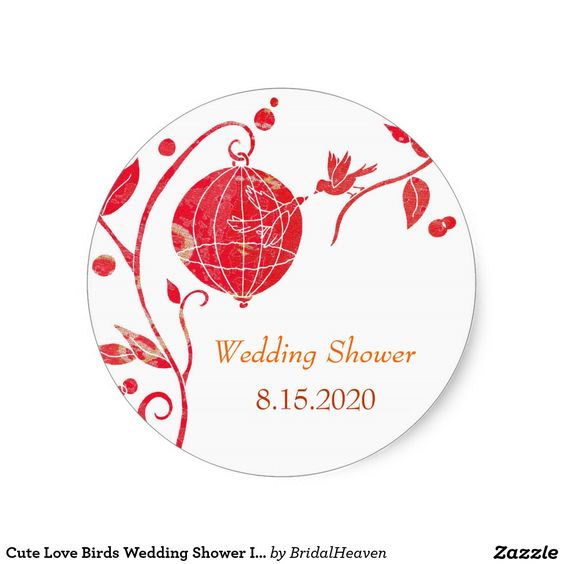 "Cute Love Birds #Wedding Shower Invitation Stickers (1.5"" in diameter). #bridalshower #sticker #redandwhite #chic #favors"