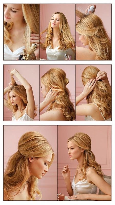 Half Up-Do Hairstyle Tutorial This Casual Do will add Style to your Usual Waves Get a big barreled curling iron. Start curling your hair at the tips. Then get a huge chunk of hair at the crown of your head. Spritz in a small amount of hairspray. Use a fine tooth comb to tease the inner part of the hair. Bring the hair back covering the teased part. Take a few pieces of hair from both sides to create a half ponytail and clip it all in.