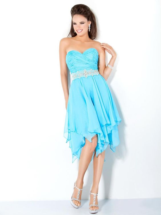 Cheap Aqua A-Line Sweetheart and Strapless Zipper Knee Length ...