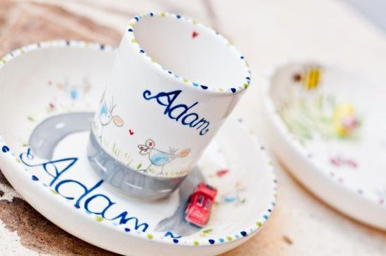 kindergeschirr selbst gemalt porzellangestaltung von zink. Black Bedroom Furniture Sets. Home Design Ideas