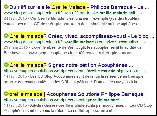 Philippe Barraqué : exemples de pages de ses blogs et sites, destinées à profiter de la notoriété du site Oreille malade (site sur les acouphènes et l'hyperacousie).
