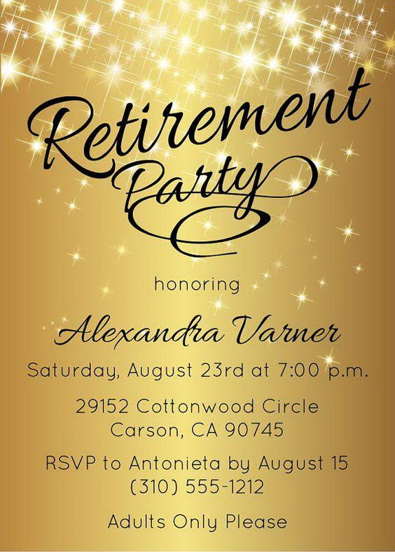Retirement Party Invitation  Gold Sparkly Retirement Invite by AnnounceItFavors
