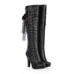 Casual Women's Boots With High Heel Butterfly Rhinestone and Bow Design