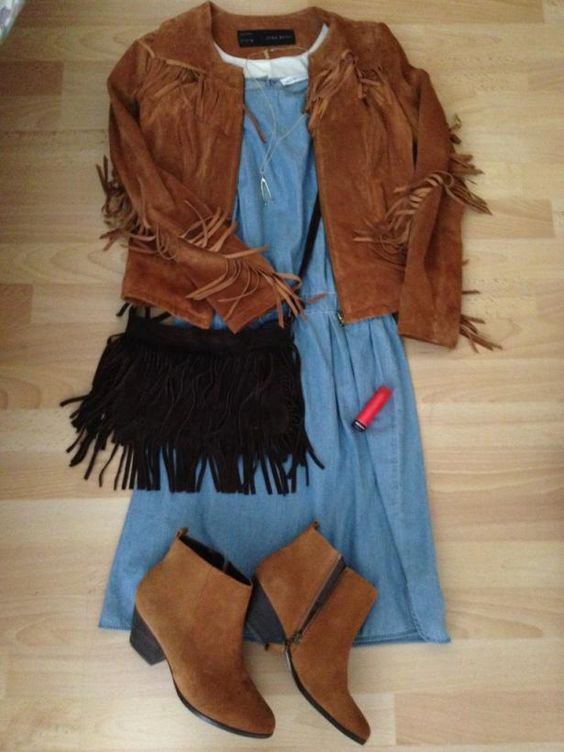 1 See by Chloé little denim dress 3 ways!  No 3. Overcast summer outfit: fringing to the max!