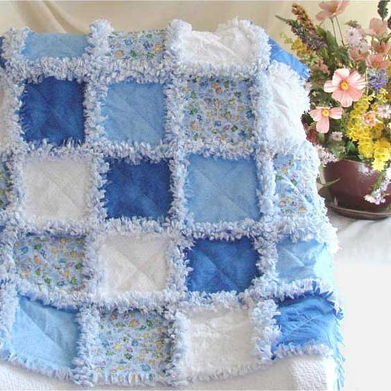 Baby Rag Quilt Blue Little Fish For The Home Pinterest
