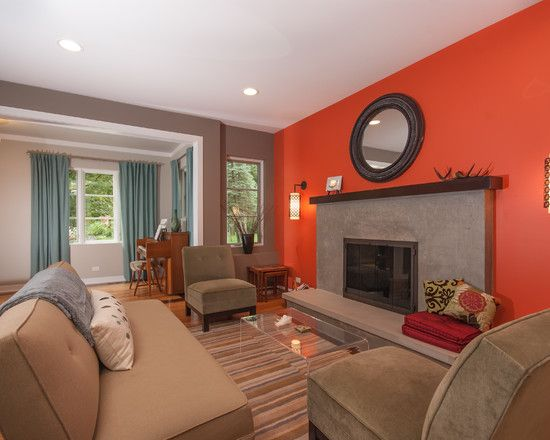 Contemporary living room grey and orange design pictures - Orange and grey living room ideas ...