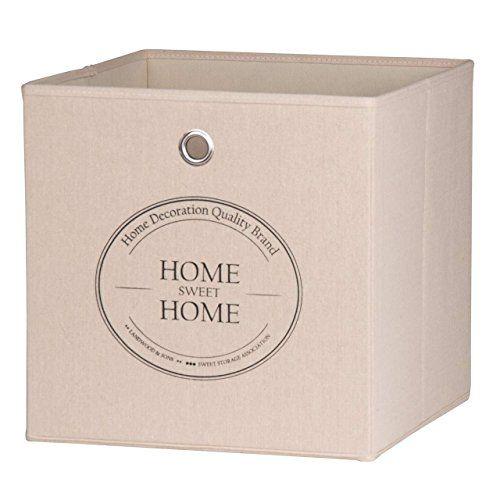 """Aufbewahrungsbox 2er-Set """"Live Laugh Love und Home Sweet Home"""" Faltbox Leinenstoff 32x32x32cm für Raumteiler und Regale"""