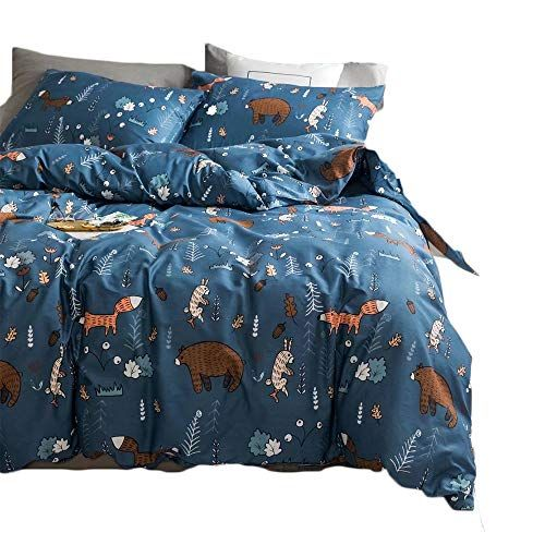 Clothknow Navy Blue Fox Rabbit Bedding Sets For Kids Chil Https Www Amazon Com Dp B07cmkmgdl Ref C Duvet Cover Sets Kids Duvet Cover Navy Blue Duvet Cover
