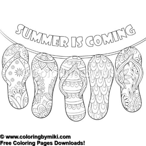 Summer Zentangle Sandals Coloring Page 717 Coloring Pages Summer Coloring Pages Zentangle
