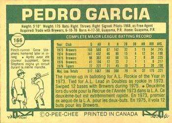 1977 O-Pee-Chee #166 Pedro Garcia Back
