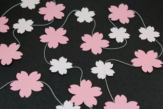 Cherry Blossom Paper Garland - Birthdays, Celebrations, Baby Showers, Party Decorations.: